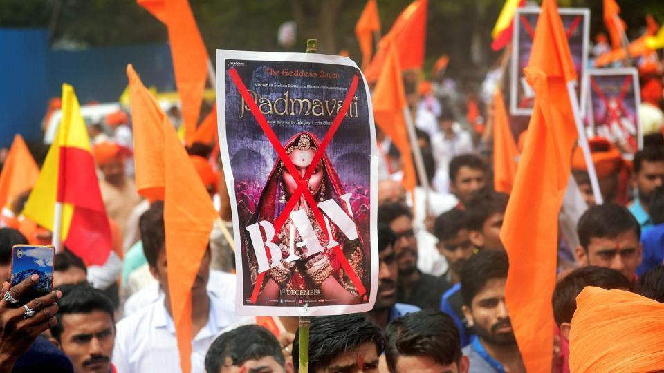 Members of Rashtriya Rajput Karni Sena during a protest against 'Padmavati' in Bengaluru.