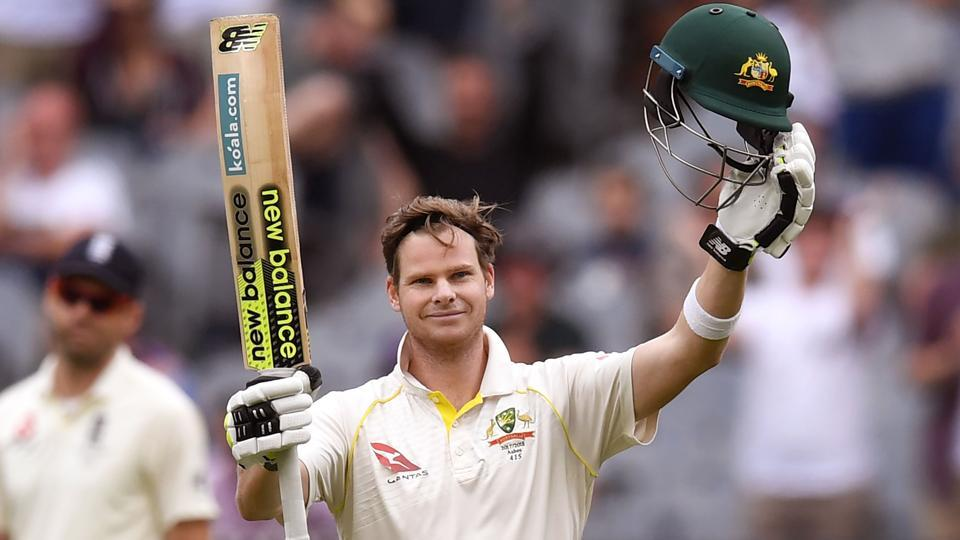 Australia skipper Steve Smith celebrates after scoring his century against England  in the fourth Ashes Test.