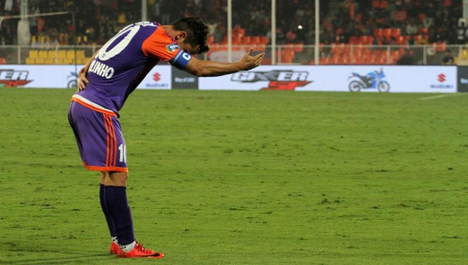 Marcelinho of FC Pune City celebrates his hat-trick during the Indian Super League vs NorthEast United FC at the Shree Shiv Chhatrapati Sports Complex Stadium in Pune on 30th December.