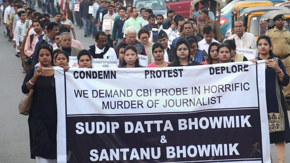 Journalists participate in a protest rally demanding CBI investigation into the kiiling of journalist Sudip Datta Bhowmik of Vernacular Daily, in Agartala.