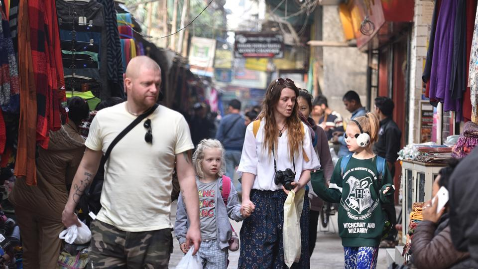 Tourists on the streets of Majnu Ka Tila, or New Aruna Nagar as it is officially known, in north Delhi.