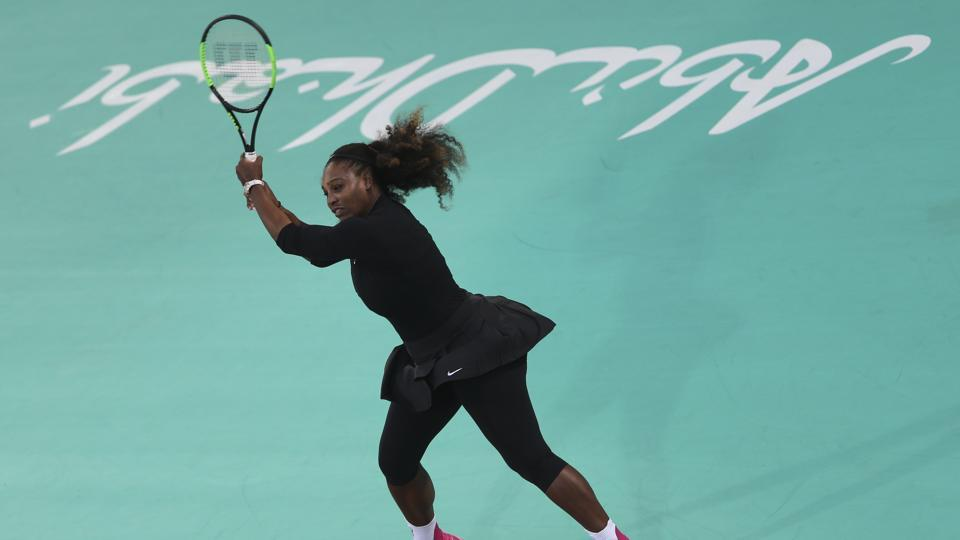 Serena Williams returns to Jelena Ostapenko during the final day of the Mubadala World Tennis Championship in Abu Dhabi, United Arab Emirates on Saturday. Williams lost 6-2, 3-6, 10/5.