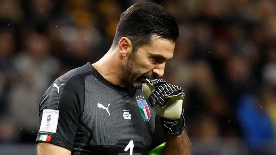 Italy's Gianluigi Buffon after Italy was defeated in 2018 FIFAWorld Cup qualifying encounter.