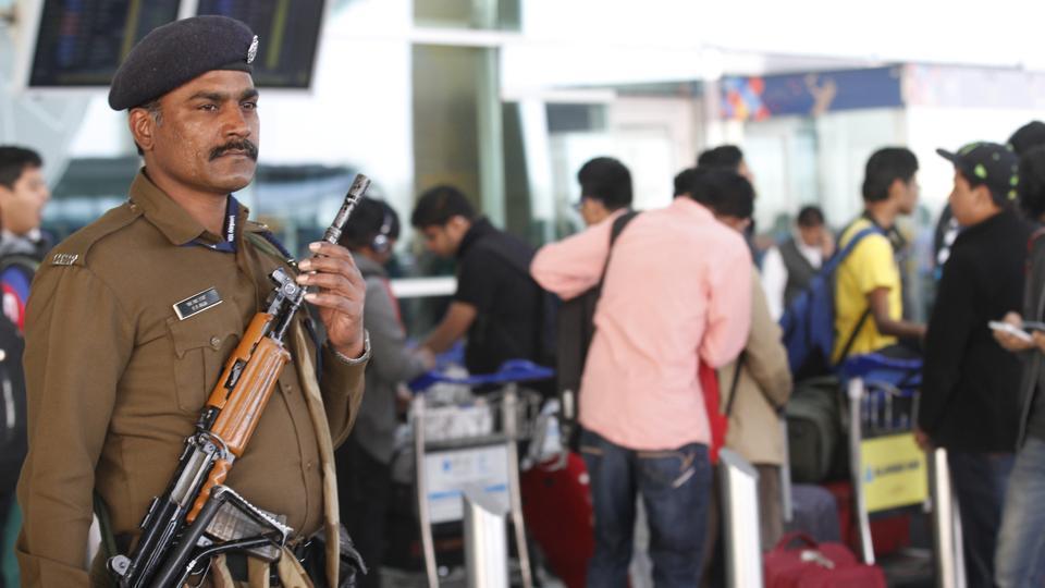 CISF Personnel alert at 1D Domestic Airport in New Delhi.