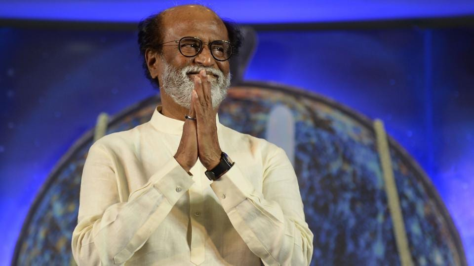 This file photo taken on December 29, 2017 shows actor Rajinikanth gesturing during an interaction with fans in Chennai.