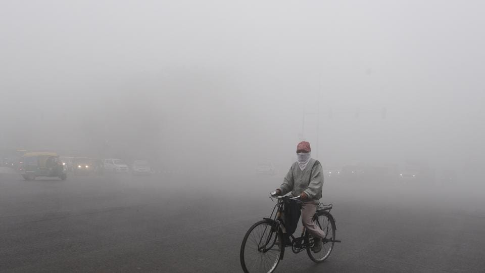 Heavy fog in front of the Rajghat in New Delhi, on Sunday.