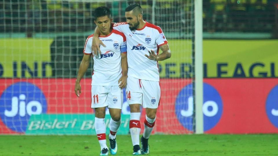 Sunil Chhetri of Bengaluru FC celebrates his goal for Bengaluru FC in an Indian Super League match against Kerala Blasters FC at the Jawaharlal Nehru Stadium in Kochi on Sunday.