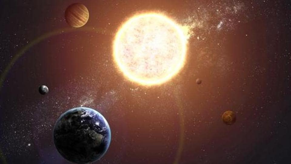 Illustration of solar system showing planets around sun. Elements of this image furnished by NASA.