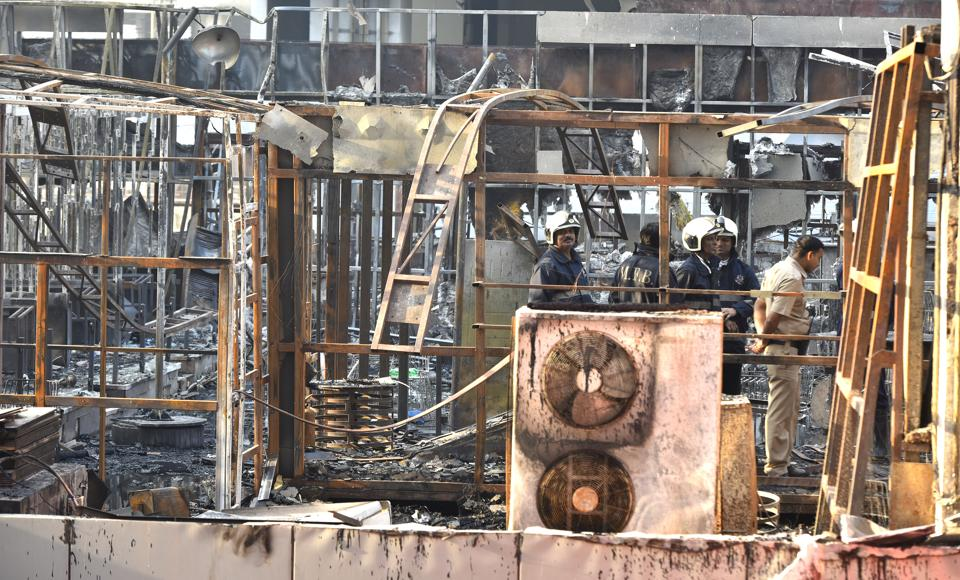 The charred remains of the rooftop restaurants inMumbai.