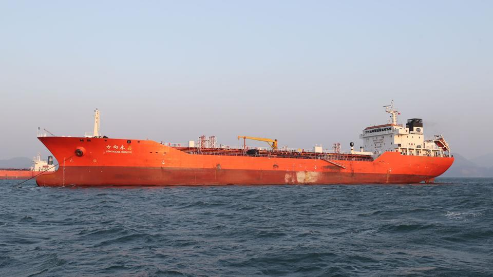 The Lighthouse Winmore, chartered by Taiwanese company Billions Bunker Group Corp., is seen at sea off South Korea's Yeosu port on December 29, 2017. South Korea briefly seized and inspected a Hong Kong-registered ship in November for transferring oil products to a North Korean vessel and breaching UN sanctions, a foreign ministry official said on December 29.