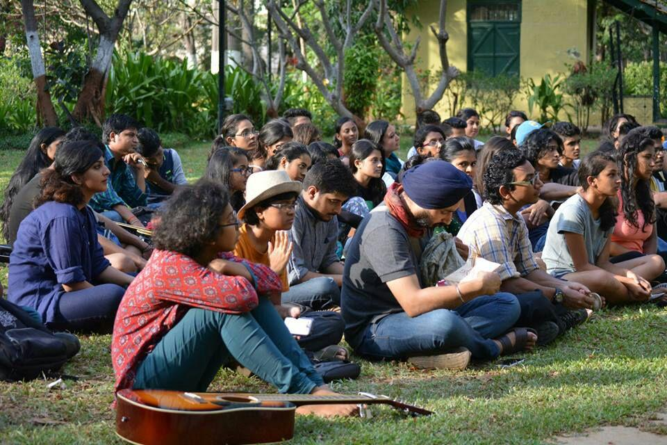 Students at an open-mic Poetry Slam  competition.