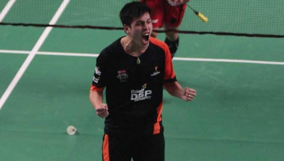 Delhi Dashers' Vincent Wong Wing Ki celebrates after defeating Hyderabad Hunters' Lee Hyun Il in the Premier Badminton League tie at New Delhi
