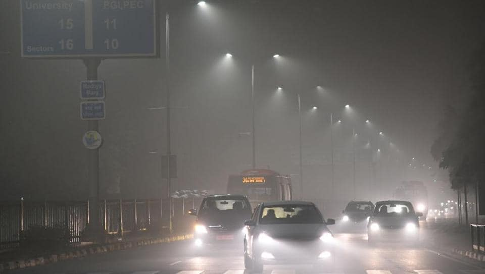 Foggy weather in Chandigarh on Monday.