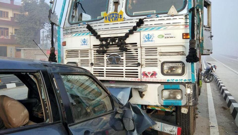 A car collided with a truck near the district administrative complex in Tarn Taran on Monday morning.