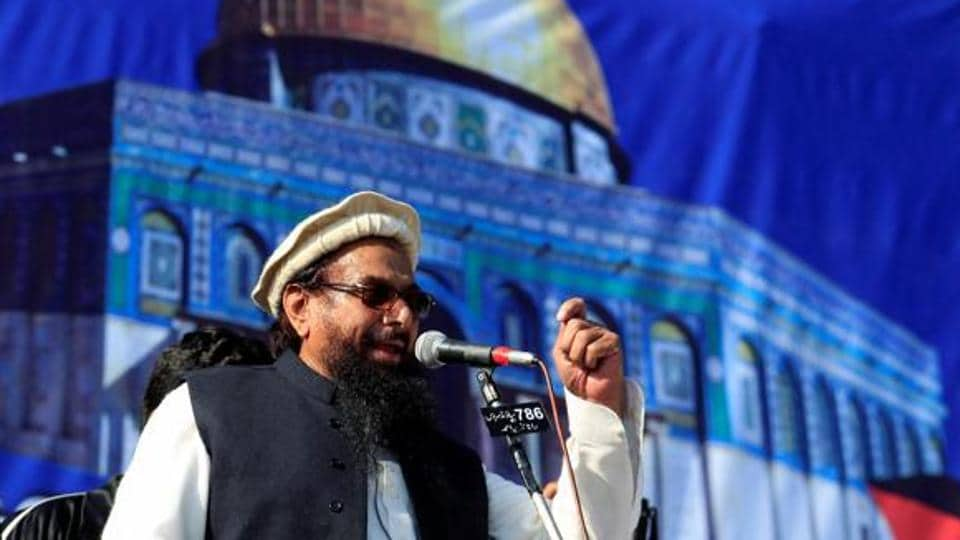 Hafiz Muhammad Saeed, chief of Jamaat-ud-Dawa, speaks to supporters during a gathering in Pakistan on December 29.