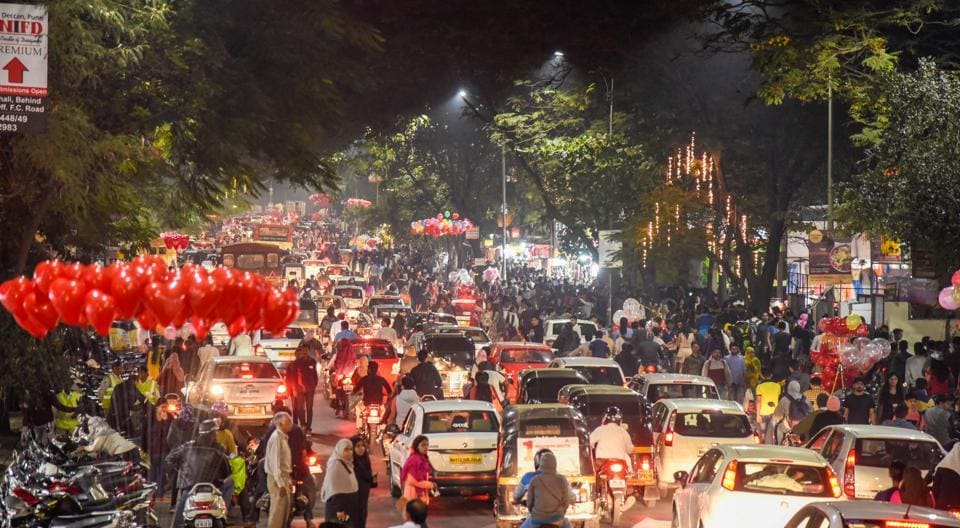 Traffic congestion on FC road on New Years eve in Pune on December 31, 2017.