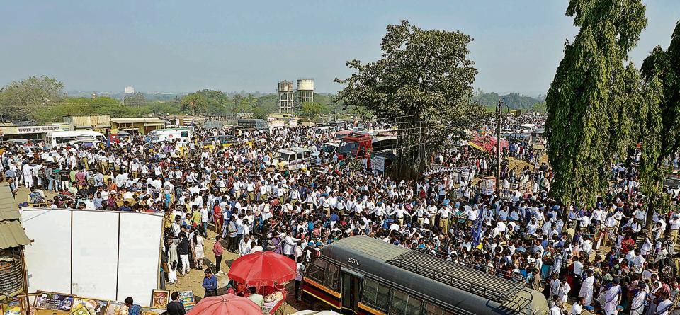 Crowd at the Bhima Koregaon gathering on Sunday.
