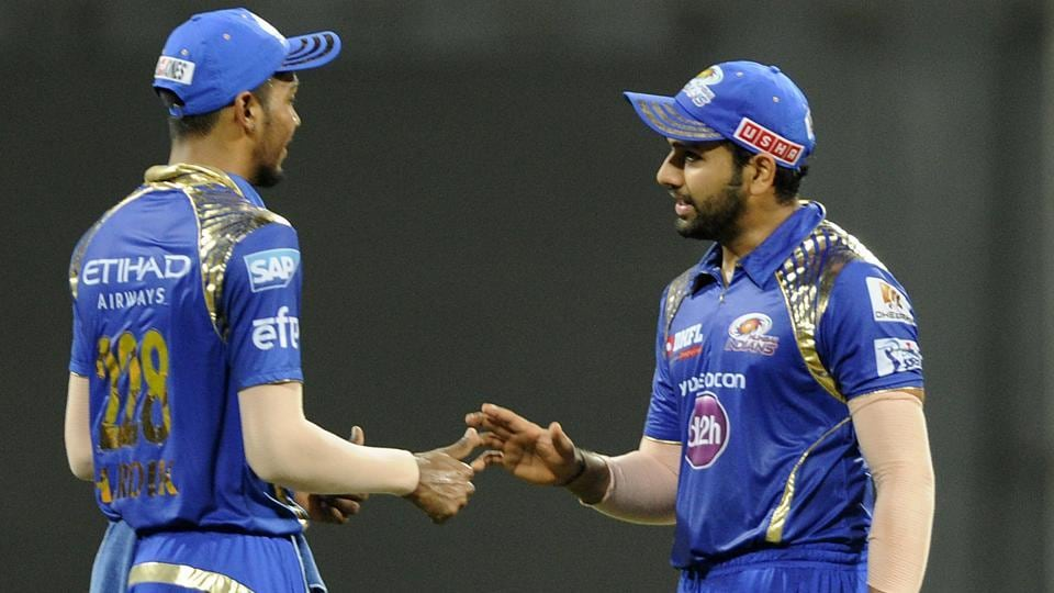 Hardik Pandya (L) and Rohit Sharma played key roles in Mumbai Indians' title win in 2017, and are set to be retained in the squad ahead of the IPL 2018 auction.