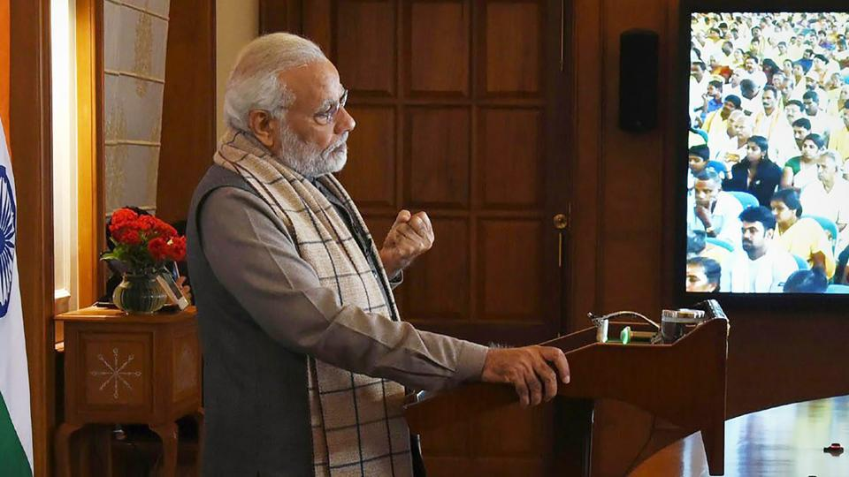 Prime Minister Narendra Modi delivering the inaugural address for the 85th Sivagiri Pilgrimage Celebrations at Sivagiri Mutt, Varkala, Kerala via video conference, in New Delhi on Sunday.