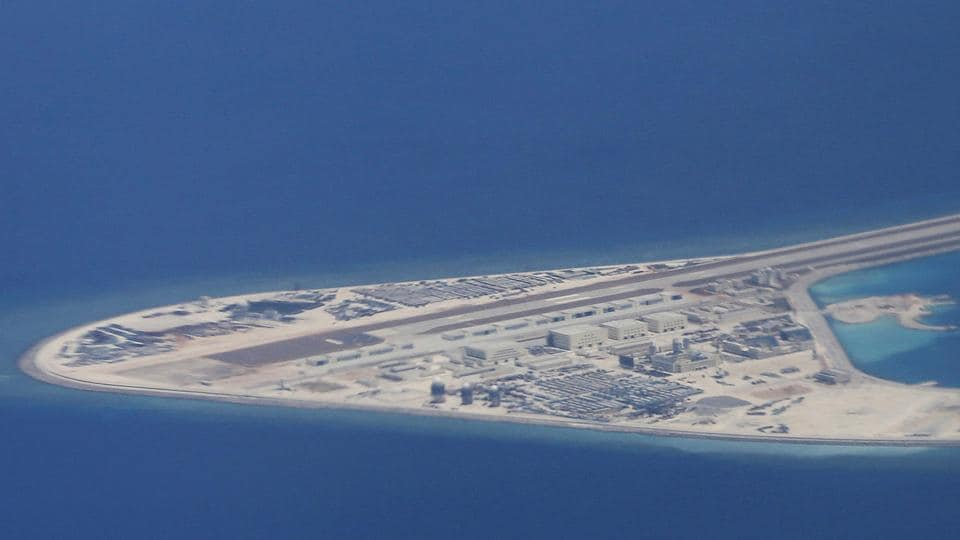 File photo of an airstrip, structures and buildings on China's man-made Subi Reef in the Spratly chain of islands in the South China Sea.