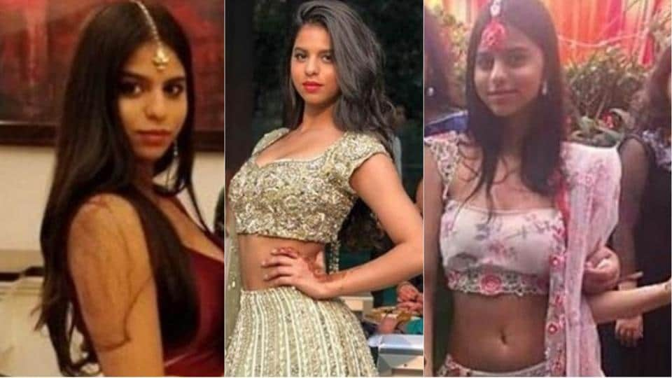 Suhana Khan spotted in three different lehengas during a Delhi wedding over the weekend.