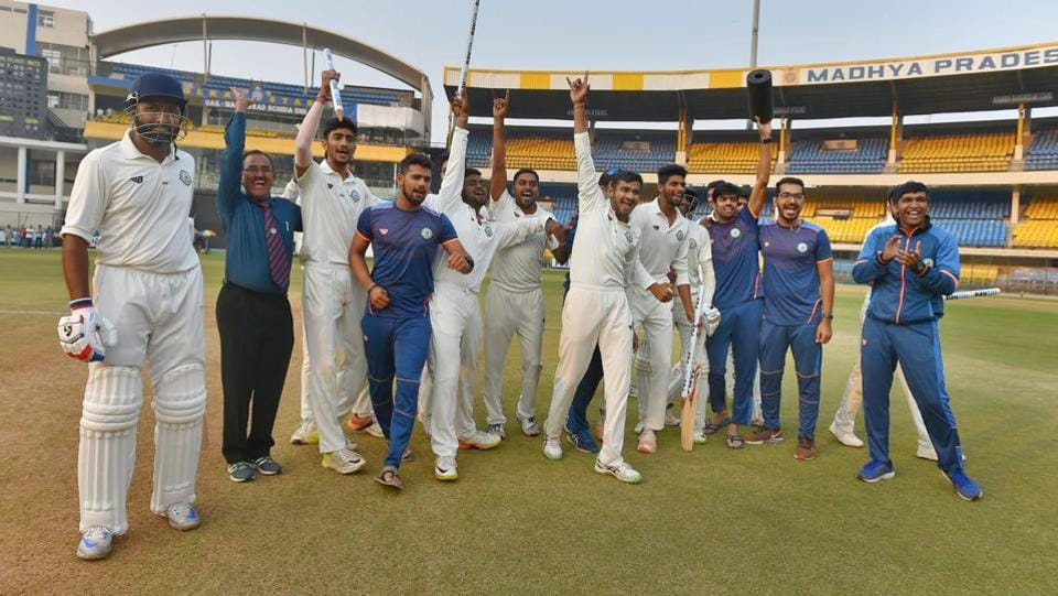 Vidarbha easily chased down the total, losing just one wicket in the process. Veteran Wasim Jaffer (L) scored the winning runs as his side clinched its first ever Ranji Trophy title. (PTI)