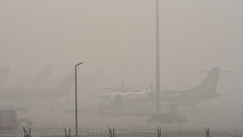Image result for Delhi fog: 20 flights, 64 trains delayed, Over 20 flights were delayed and six cancelled at Delhi's