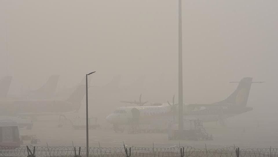 Image result for Delhi fog: 20 flights, 64 trains delayed, Over 20 flights were delayed and six cancelled at Delhi's