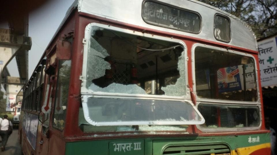 Violent protests erupted in several parts of Mumbai with protestors damaging a BEST bus, blocking roads and holding a rail roko on Tuesday, a day after a 28-year-old Dalit died in Pune district following the bicentenary of a British-era war. (Vijayanand Gupta / HT Photo)