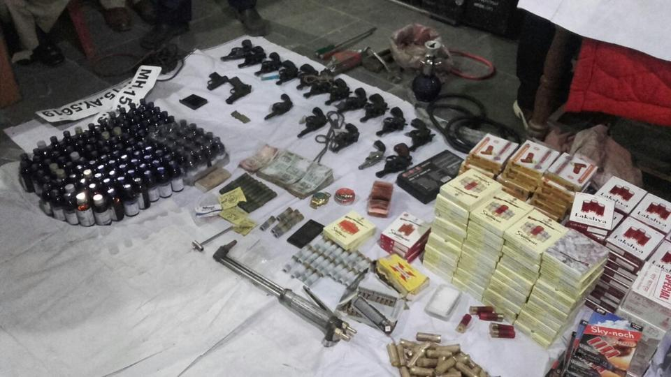 Weapons seized at the Agra-Mumbai highway on December 15.