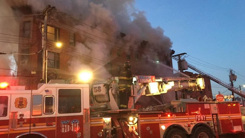 "The New York City Fire Department said more than 200 of its members were on scene of the ""6-alarm fire""."