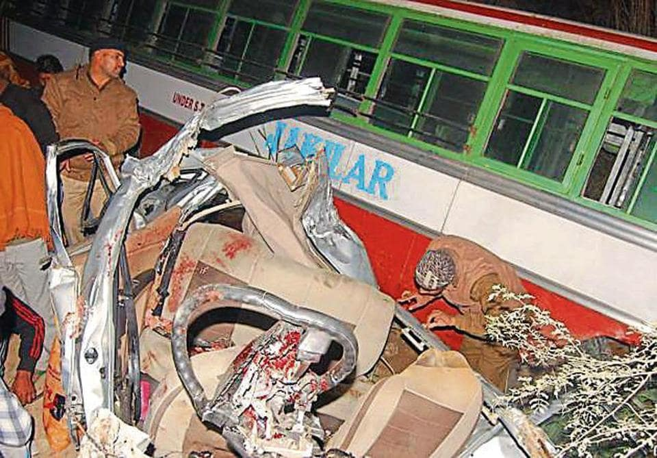 The victims were injured after their car collided with a private bus in Bahadurgarh on Monday evening.