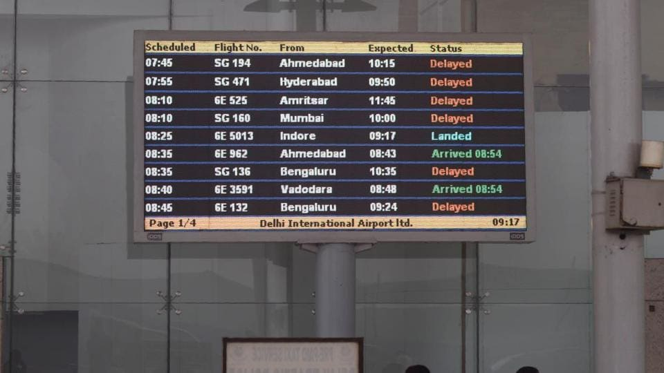 According to the Indira Gandhi International Airport's app showing live updates of flights, around 30 domestic and 20 international flights, which were supposed to land in Delhi by noon or earlier, were delayed.