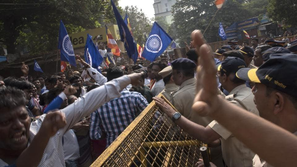 The celebrations gathered momentum in 1927 after BR Ambedkar visited the spot and called the Bhima Koregaon battle a war against caste. Historians are divided on the subject. But this year, the celebrations have been controversial with several right wing groups, such as the Akhil Bharatiya Brahmin Mahasangh, calling the event anti-national. (Satish Bate / HT Photo)