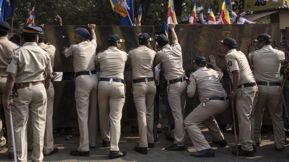 """""""The Bhima Koregaon incident took place due to inefficiency of the police department. We have demanded that the police commissioner and the deputy commissioner there should be suspended,"""" said Rambhau Tayade, president of RPI, Thane city. (Satish Bate / HT Photo)"""