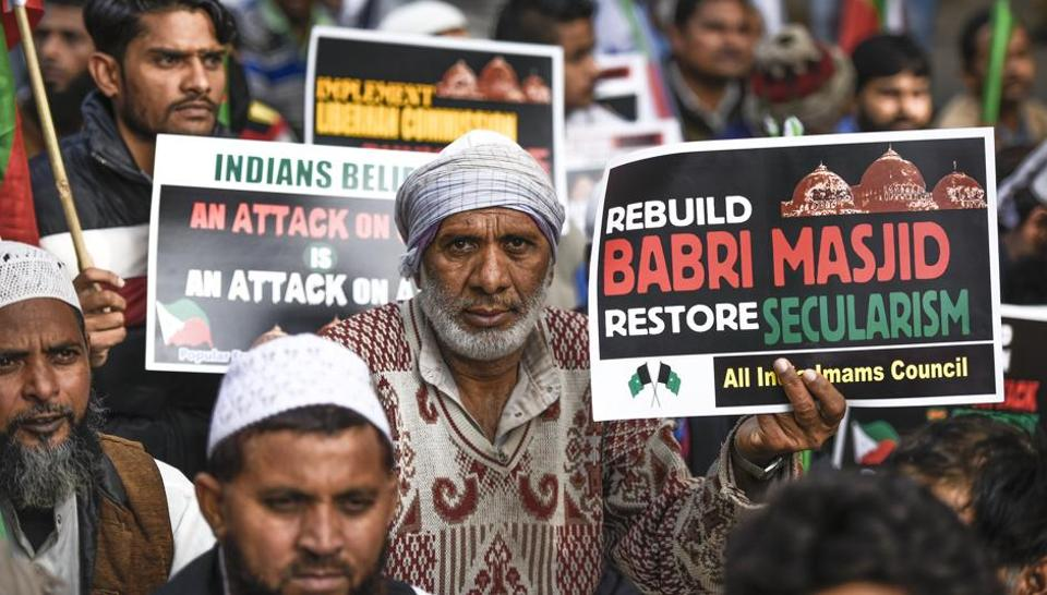 A protest march on the 25th anniversary of Babri masjid demolition in New Delhi, December 6, 2017