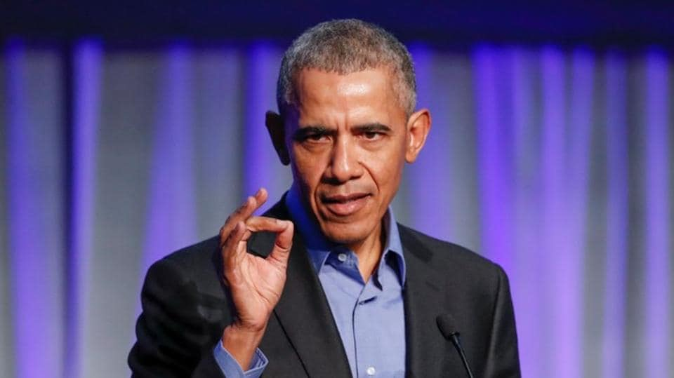 Former US President Barack Obama speaks during the North American Climate Summit in Chicago, Illinois, US on December 5, 2017.