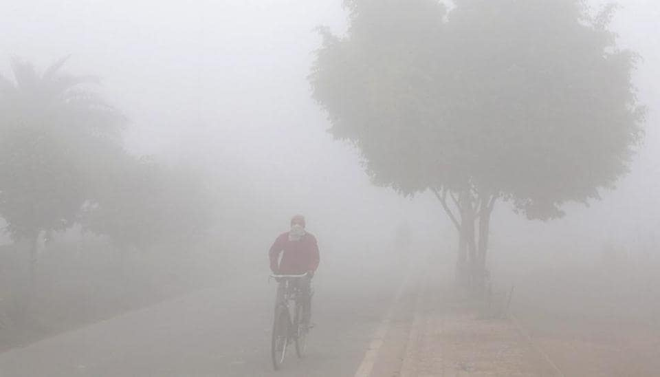 A man pedals his bicycle in dense morning fog in Amritsar on Tuesday.