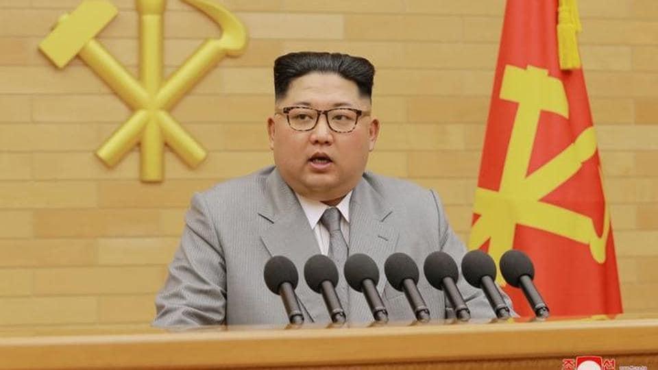 North Korea's leader Kim Jong Un speaks in Pyongyang on January 1, 2018.