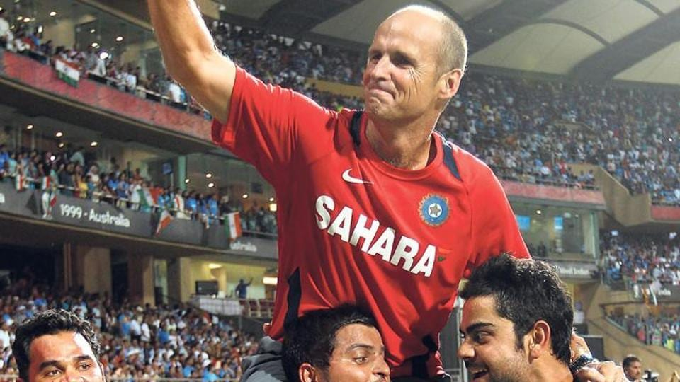 Gary Kirsten being chaired by Suresh Raina and Virat Kohli after India won the 2011 Cricket World Cup in Mumbai's Wankhede Stadium. Kirsten was head coach of the Indian cricket team led by MS Dhoni.