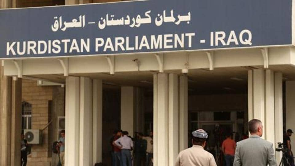 This file picture shows the building of Iraq's autonomous Kurdistan region's parliament in Arbil, Kurdistan's capital in northern Iraq. Iran reopened the last two border posts with Iraqi Kurdistan that it closed in response to an independence vote rejected by Baghdad and neighbouring countries.