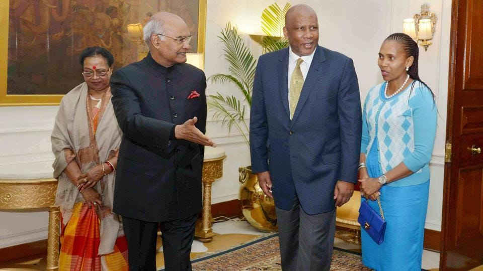 King Letsie III, King of Lesotho and Queen Masenate Mohato Seeiso call on the President Ram Nath Kovind and First Lady Savita Kovind, at Rashtrapati Bhavan in New Delhi on Tuesday.