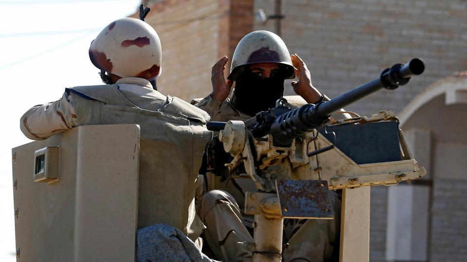 Military forces are seen in North Sinai, Egypt.