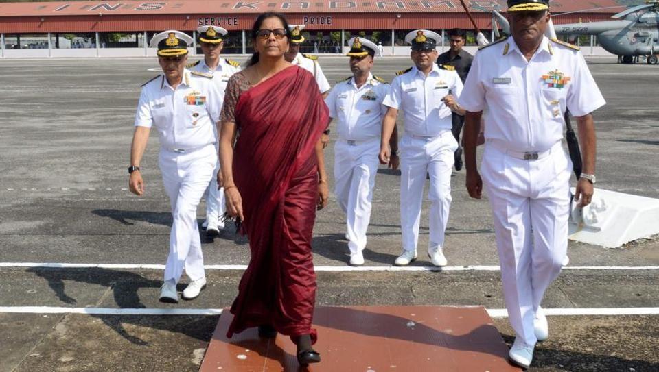 Union defence minister Nirmala Sitharaman during her visit to the Karwar Naval Base in Karnataka.