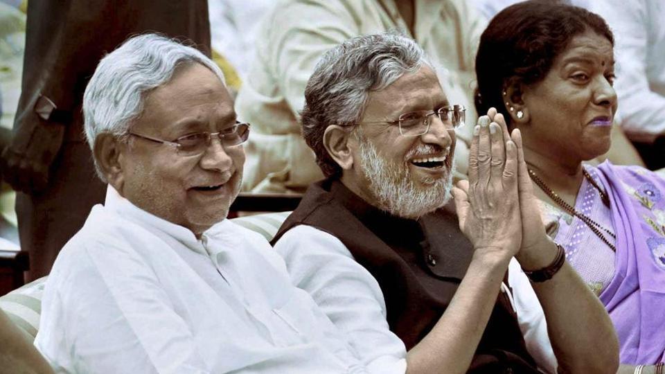 Bihar chief minister Nitish Kumar with deputy CM Sushil Kumar Modi in Patna.