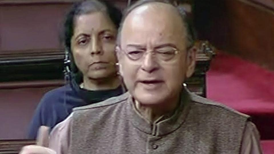 Finance minister Arun Jaitley speaks in the Rajya Sabha in New Delhi on Tuesday, during the ongoing winter session of Parliament.