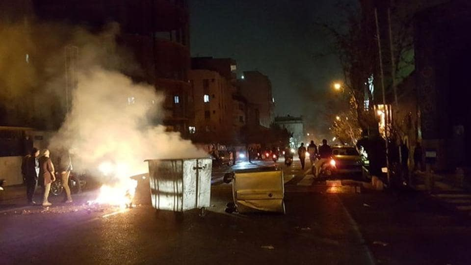 People protest in Tehran on December 30, 2017. The unrest is the worst since crowds took to the streets in 2009 to condemn the re-election of then president Mahmoud Ahmadinejad.