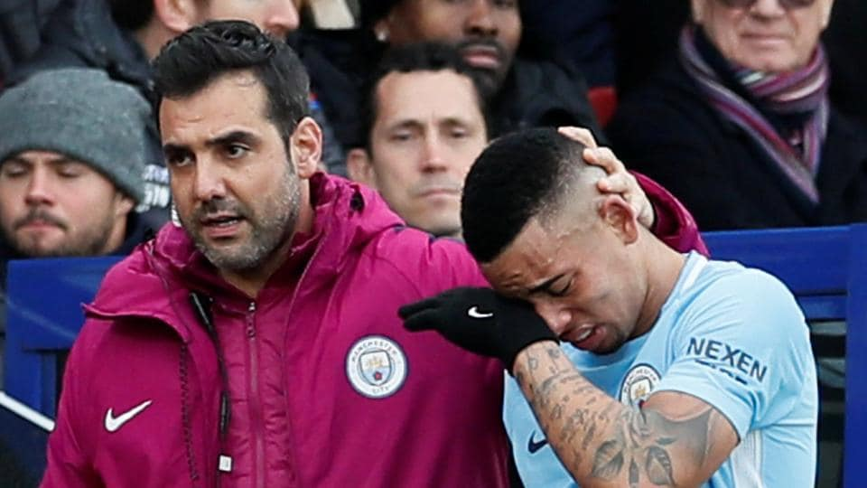 Gabriel Jesus suffered a knee ligament damage during Manchester City's 0-0 draw with Crystal Palace in the Premier League.