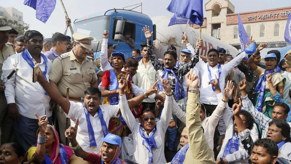Supporters of the Republican Party of India RPI,  a Dalit rights group, protest in Thane following clashes between Dalit and Maratha groups in Pune district on Tuesday.