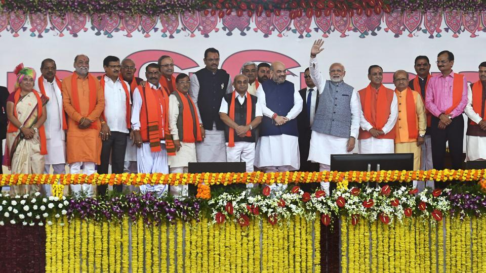 Prime Minister Narendra Modi, BJP President Amit Shah along with CM Vijay Rupani and other ministers during the swearing-in ceremony at Gandhinagar.